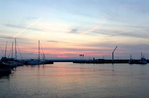 Helsingborg, North Harbor, Boats, Sunset, Water