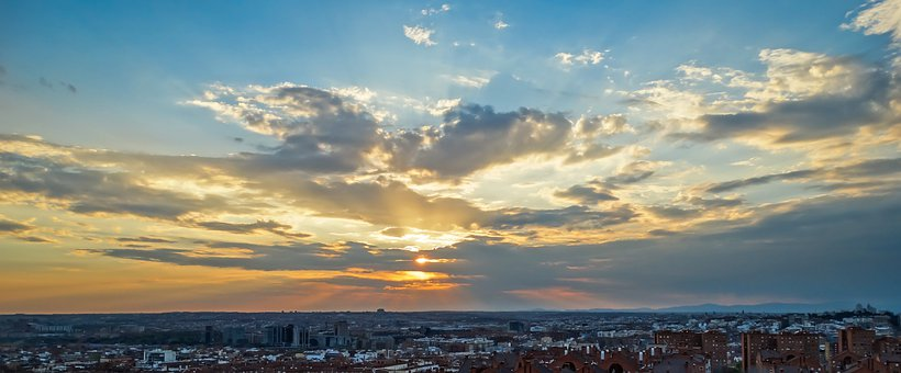 Madrid, Sunset, Dawn, Vallecas, Mountain, Lawn, Light