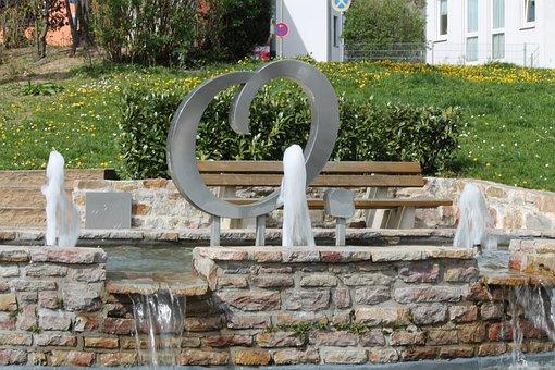 Fountain, O, Water, Oberursel, Liquid, Green