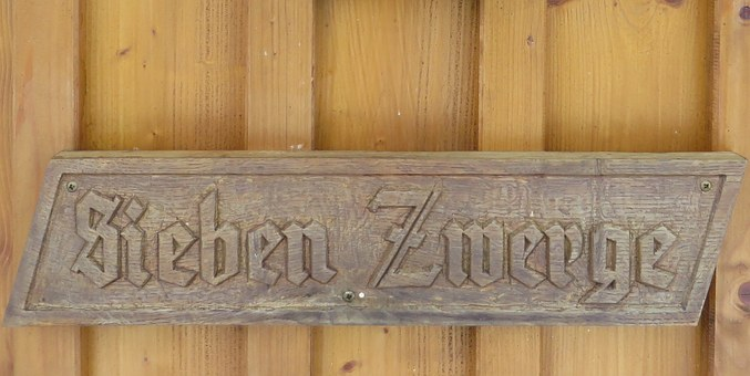 Wooden Sign, Fairy Tales, Seven Dwarfs