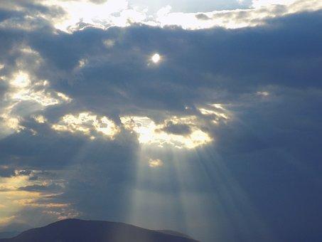 Sunbeams, Aegina Island, Greece, Clouds Over The Sea