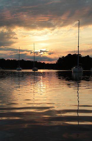Archipelago, Sailboat, Mast, Boats, Water, Sunset