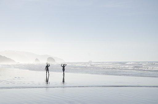 Beach, Coast, Foggy, Mist, Ocean, Outdoors, People, Sea