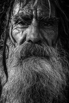 Beard, Close-up, Dark, Elderly, Facial Hair, Hair, Man