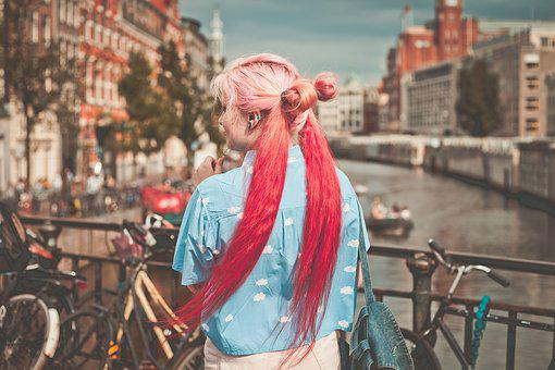 Adult, Bicycles, Blur, Boats, Bridge, Buildings, City