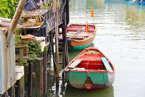 River, Colorful Boat, Fishing Village, Hong Kong, Boat