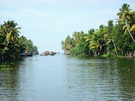 River, Houseboats, Boats, India, Kerala