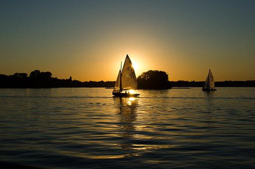 Sailing Boats, Carboats, Calm, Quiet, Evening, Sunset