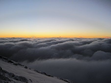 Kilimanjaro, Africa, Sunsett, Clouds, Over The Clouds