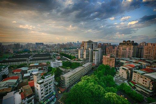 Taiwan, Taipei, City, Sunset, Construction, Park, Sky
