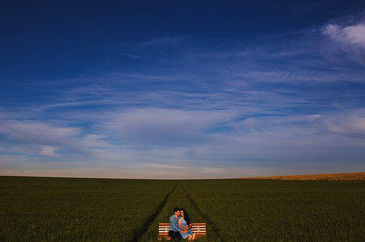 Bench, Countryside, Couple, Crop, Cropland, Farm, Field