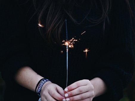 Dark, Firecracker, Hands, Spark, Sparkler
