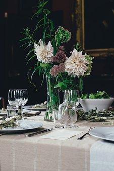 Cutlery, Decoration, Elegant, Flower Arrangement