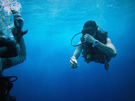 Blue Water, Divers, Equipments, Goggles, Ocean, People