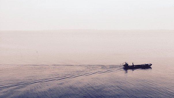 Beach, Boat, Dawn, Dusk, Fisherman, Fog, Horizon, Lake