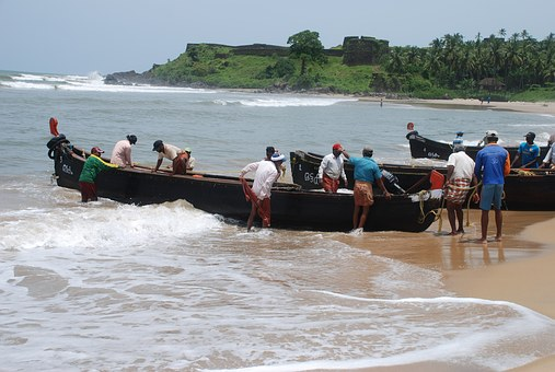 Kerala, Fishermen, Boats, India, Beach, Fishing