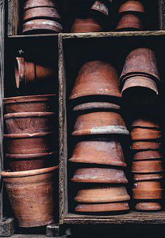 Clay Pots, Container, Dirty, Flower Pots, Industry