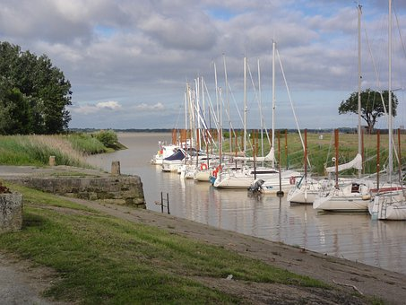 Plassac, France, Boats, Sail, Sailboats, Sky, Clouds