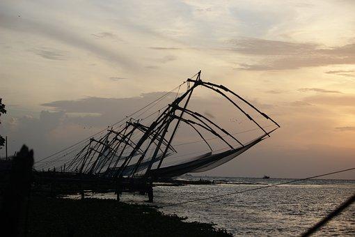 Chinese Fishing Nets, Sunset, Kerala, Kochi