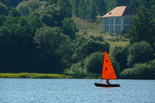 Sailing Boat, Red Sails, Lipno, Lipno Dam, Reservoir