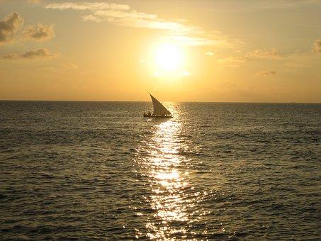 Sunset, Sailing Boat, Maldives, Sea