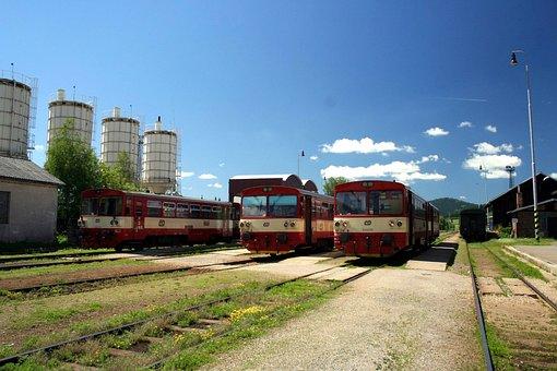 Station, Local, Train, Motorák, Track