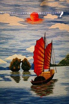 Image, Painting, Boot, Sailing Boat, Junk, Chinese