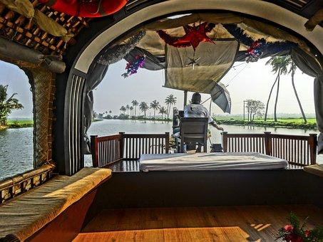 Houseboat, River, Kerala, Cozy, Exit