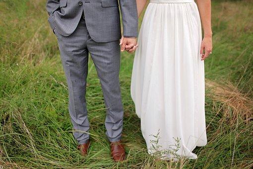 Bride, Bride And Groom, Field, Groom, Suit, Wedding