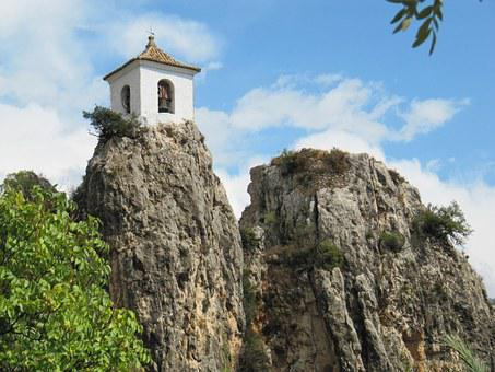 Castle, Guadalest, Spain, Rock, Chapel