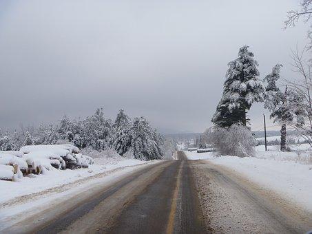 Winter, Road, Gadou, Slush, Snow, Ice, Cold, Canada