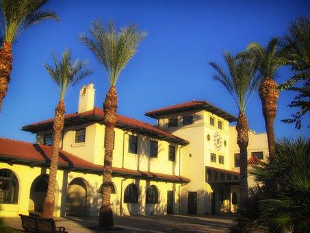 Fresno, California, Train Station, Palms, Palm Trees