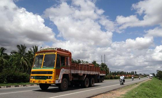 Highway, Truck, Transport, Road, Clouds, Stratus