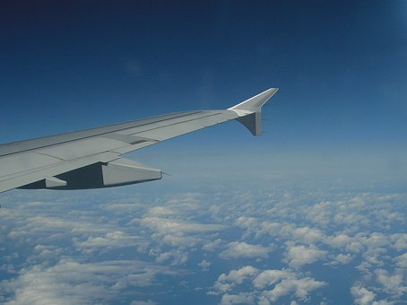 Wing, Aircraft, Sky, Aerial View, Clouds, Flying