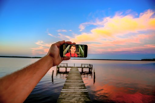 Arm, Beach, Blur, Camera, Cellphone, Close-up, Clouds