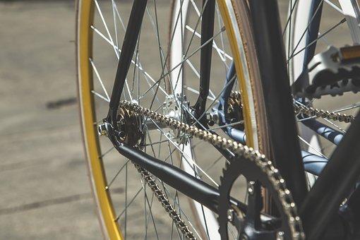 Bike, Chain, Close-up, Spokes, Tire, Wheel