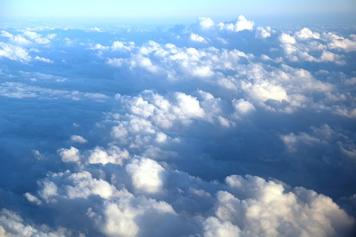Clouds View From The Plane, Sky, Blue, White Clouds