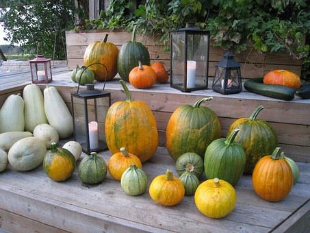 Pumpkins, Arrangement, Colors, Autumn, Lamps, Light
