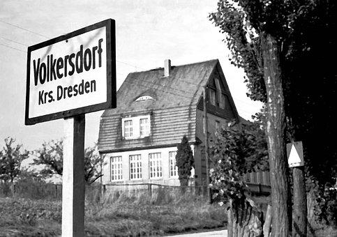 Volkersdorf, Dresden, House, Town Sign