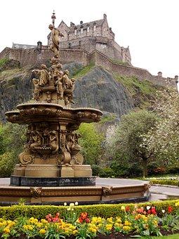 Edinburgh Castle, Fountain, Flower Beds, Copper