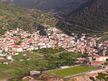 Kyriaki, Greece, Town, Village, Buildings, Mountains