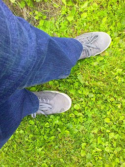 Boots, Jeans, Grass, Green, Blue, Gray, View From Above