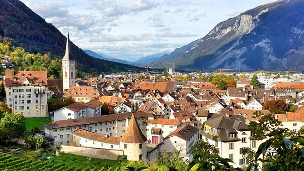 Swiss Oldest Town, Cathedral, Clock Tower, Chur