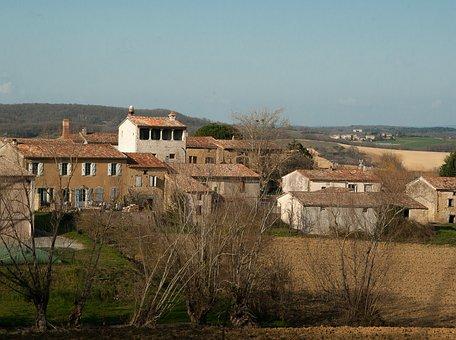 France, Lala, Village, Tiled Roofs, Hills