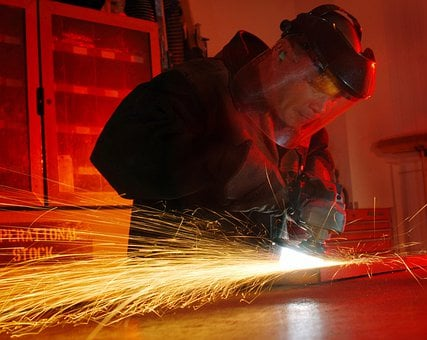 Man, Working, Metal Worker, Tool, Cutter, Sparks