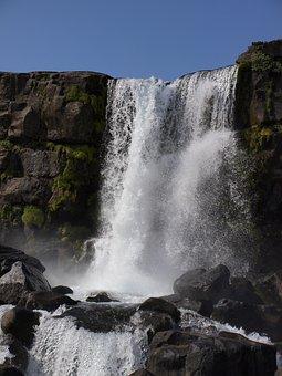 þingvellir, Iceland, Landscape, Wass, Waterfall