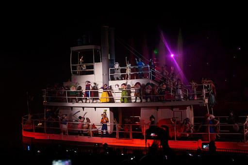Boat, Characters, Trip, Disney, Night, Exposure