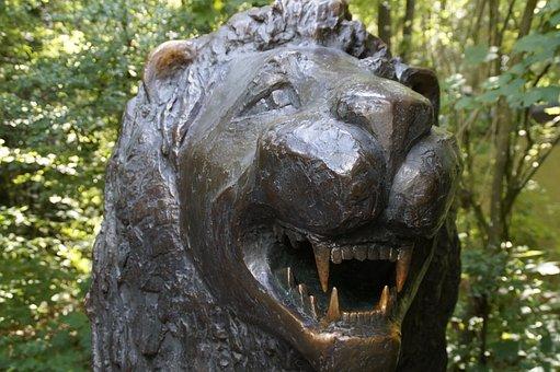 Lion, Metal, Tooth, Baring Teeth, Brass, Bronze, Statue