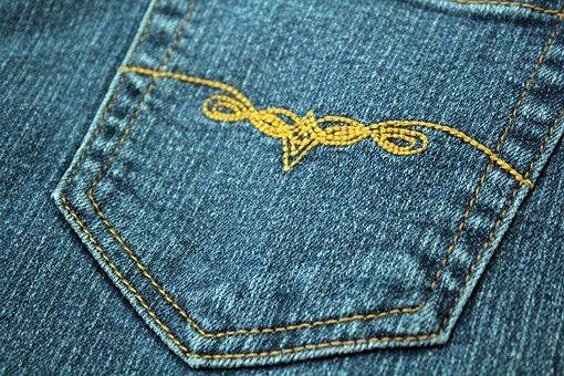 Pocket, Denim, Design, Embroidery, Jeans, Pants, Cloth