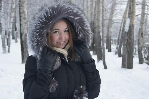 Winter, Girl, Smile, Snow, Person, Forest, Trees
